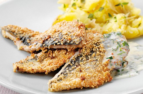 Herring in crispy oatmeal