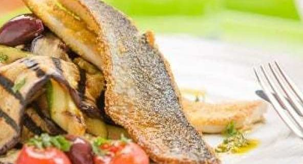 Pan Fried Herring in Polenta Crust with Summer Veg Salad